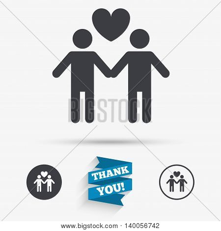 Couple sign icon. Male love male. Gays with heart. Flat icons. Buttons with icons. Thank you ribbon. Vector