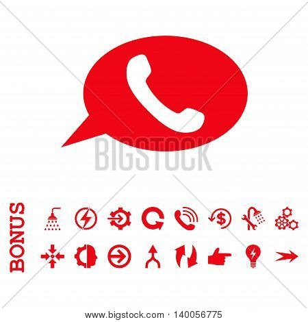 Phone Message vector icon. Image style is a flat pictogram symbol, red color, white background.