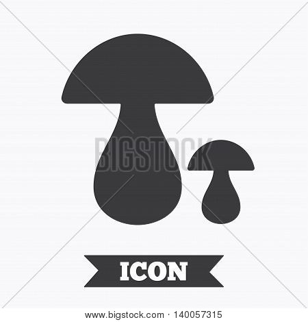 Mushroom sign icon. Boletus mushroom symbol. Graphic design element. Flat mushroom symbol on white background. Vector