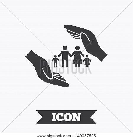 Family life insurance sign icon. Hands protect human group symbol. Health insurance. Graphic design element. Flat insurance symbol on white background. Vector
