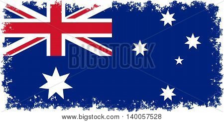 National flag of Australia authentic color 1:2 scale and distressed edges
