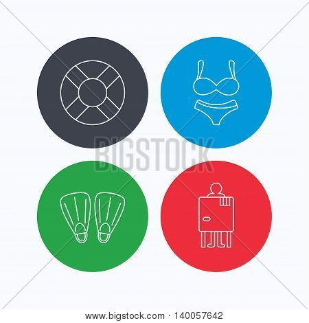 Lifebuoy, lingerie and flippers icons. Changing cabin linear sign. Linear icons on colored buttons. Flat web symbols. Vector