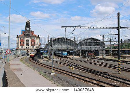 PRAGUE, CZECH REPUBLIC - JUNE 19, 2016: Central railway station in Prague