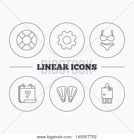 Lifebuoy, lingerie and flippers icons. Changing cabin linear sign. Flat cogwheel and calendar symbols. Linear icons in circle buttons. Vector