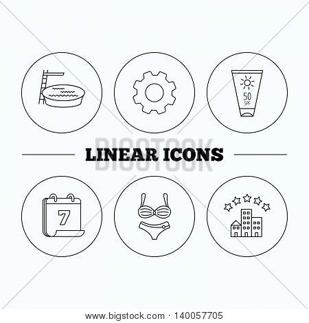 Hotel, swimming pool and sun cream icons. Lingerie linear sign. Flat cogwheel and calendar symbols. Linear icons in circle buttons. Vector