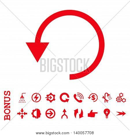 Rotate Ccw vector icon. Image style is a flat pictogram symbol, red color, white background.