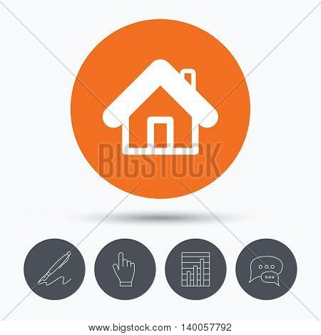 Home icon. House building symbol. Real estate construction. Speech bubbles. Pen, hand click and chart. Orange circle button with icon. Vector