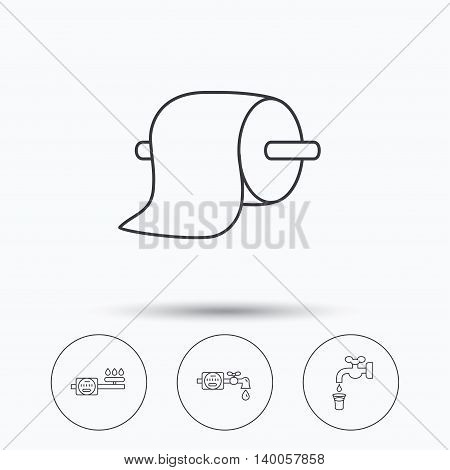 Toilet paper, gas and water counter icons. Save water linear sign. Linear icons in circle buttons. Flat web symbols. Vector