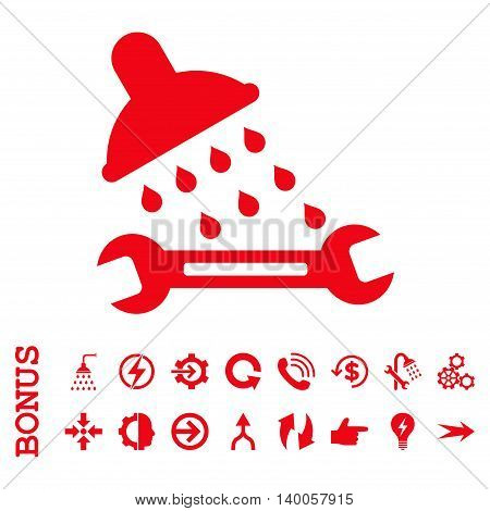 Shower Plumbing vector icon. Image style is a flat iconic symbol, red color, white background.