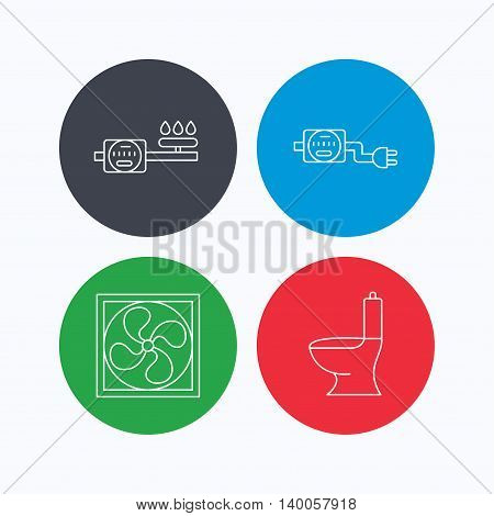 Ventilation, toilet and gas counter icons. Electricity counter linear sign. Linear icons on colored buttons. Flat web symbols. Vector
