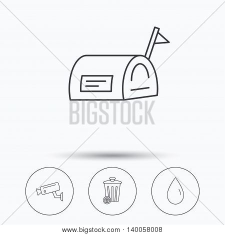 Mailbox, video monitoring and water drop icons. Trash bin linear sign. Linear icons in circle buttons. Flat web symbols. Vector