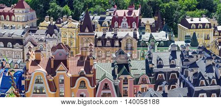European town panorama. Colorful roofs. European soul