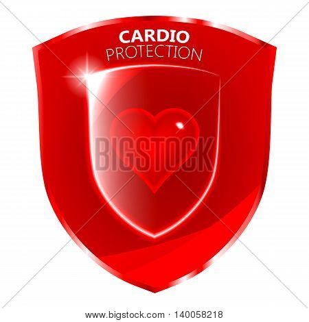 Cardio health protection symbol. Glass heart symbol over the red shield. Vector illustration