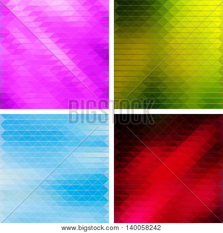 Creative Triangular Polygonal Colorful Mosaic Backgrounds. Set of four different color themes pink green blue and red. Vector illustration