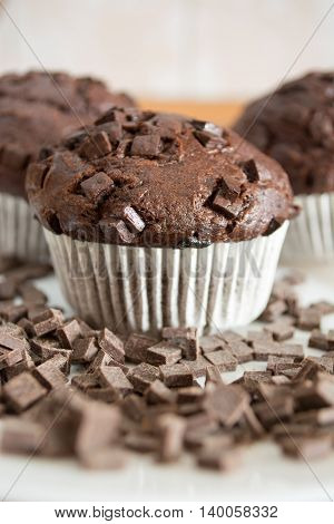 Chocolate Cupcake Covered With Chocolate Crumbs