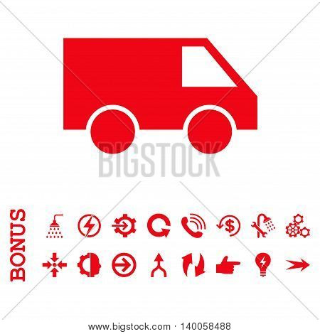 Van vector icon. Image style is a flat pictogram symbol, red color, white background.