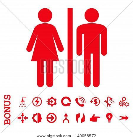 WC Persons vector icon. Image style is a flat iconic symbol, red color, white background.