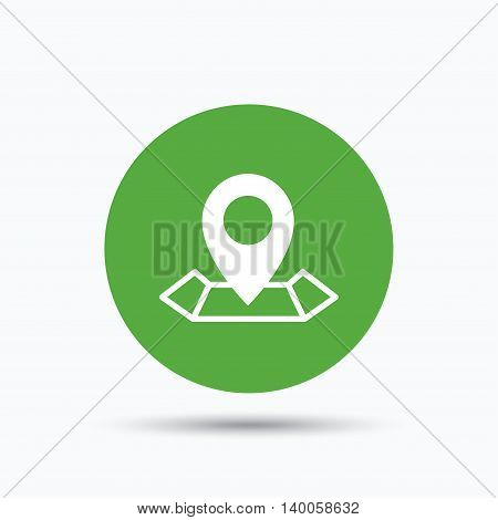 Location icon. Map pointer symbol. Flat web button with icon on white background. Green round pressbutton with shadow. Vector