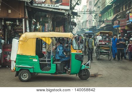 Old Delhi Rajasthan India - February 15 2016 : A typical scene in Old Delhi busy street.
