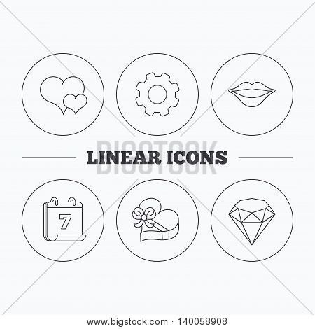 Love heart, brilliant and gift box icons. Kiss lips linear sign. Flat cogwheel and calendar symbols. Linear icons in circle buttons. Vector