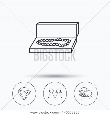 Brilliant, gift box and couple icons. Box with jewelry linear sign. Linear icons in circle buttons. Flat web symbols. Vector