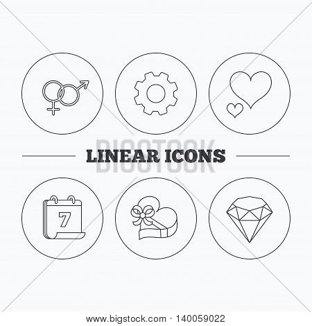Love heart, gift box and brilliant icons. Male and female linear signs. Flat cogwheel and calendar symbols. Linear icons in circle buttons. Vector