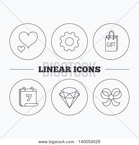 Love heart, gift bag and brilliant icons. Bow-knot linear sign. Flat cogwheel and calendar symbols. Linear icons in circle buttons. Vector