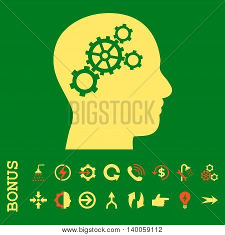 Brain Gears glyph bicolor icon. Image style is a flat iconic symbol, orange and yellow colors, green background.