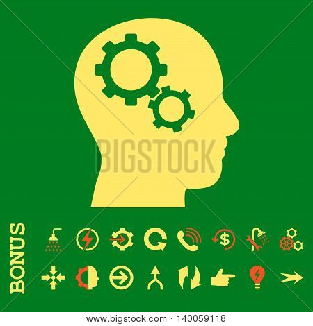 Brain Gears glyph bicolor icon. Image style is a flat pictogram symbol, orange and yellow colors, green background.