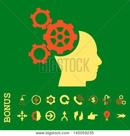 Brain Mechanics glyph bicolor icon. Image style is a flat iconic symbol, orange and yellow colors, green background.