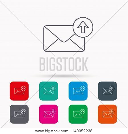 Mail outbox icon. Email message sign. Upload arrow symbol. Linear icons in squares on white background. Flat web symbols. Vector