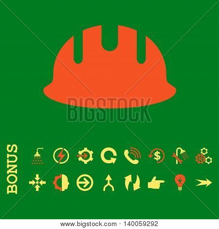 Builder Hardhat glyph bicolor icon. Image style is a flat pictogram symbol, orange and yellow colors, green background.