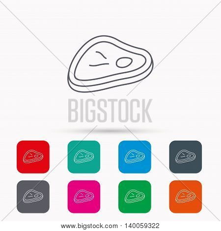 Meat icon. Beef steak sign. Barbecue meat slice symbol. Linear icons in squares on white background. Flat web symbols. Vector