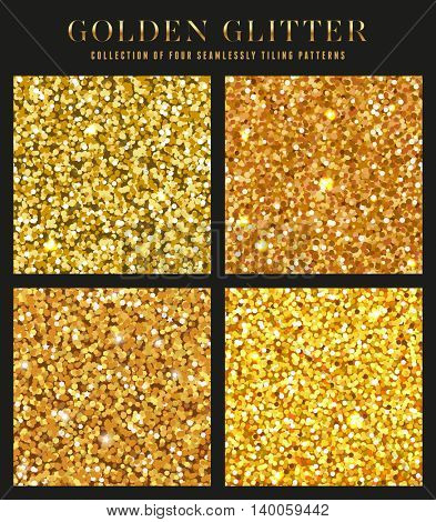 collection of four seamlessly tiling golden glitter patterns/textures - perfect for christmas or luxury designs