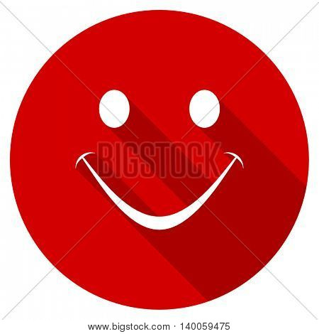 smile red vector icon, circle flat design internet button, web and mobile app illustration