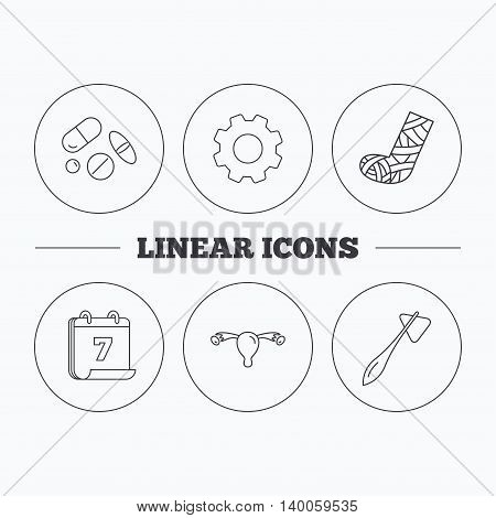 Hammer, broken leg and medical pills icons. Uterus and ovary linear sign. Flat cogwheel and calendar symbols. Linear icons in circle buttons. Vector