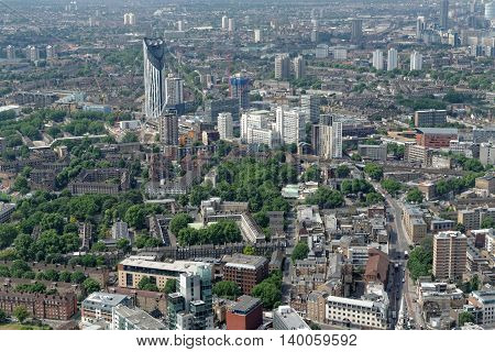 Aerial view of south London - Elephant and Castle area (Newington) with the famous Strata building one of the tallest residential buildings in London and beyond.