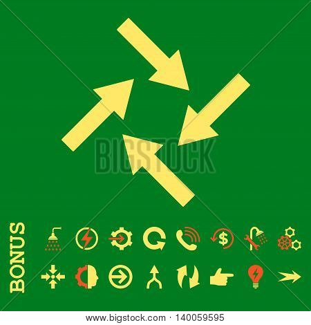 Centripetal Arrows glyph bicolor icon. Image style is a flat iconic symbol, orange and yellow colors, green background.