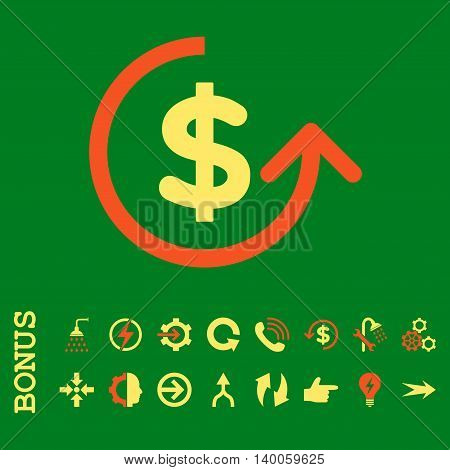Chargeback glyph bicolor icon. Image style is a flat pictogram symbol, orange and yellow colors, green background.