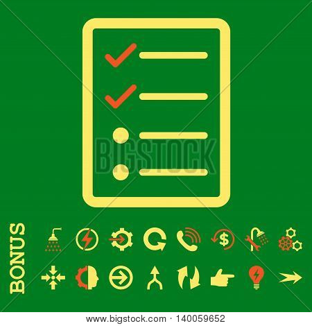 Checklist Page glyph bicolor icon. Image style is a flat pictogram symbol, orange and yellow colors, green background.