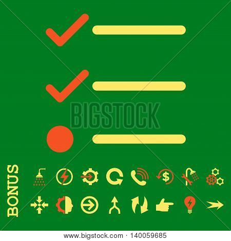 Checklist glyph bicolor icon. Image style is a flat iconic symbol, orange and yellow colors, green background.