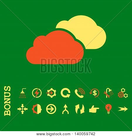 Clouds glyph bicolor icon. Image style is a flat pictogram symbol, orange and yellow colors, green background.