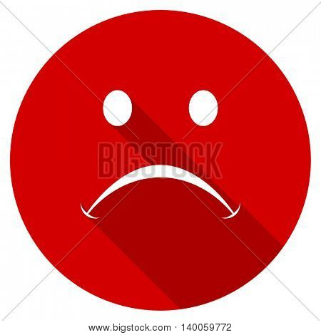cry red vector icon, circle flat design internet button, web and mobile app illustration
