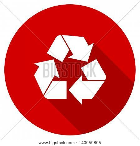recycle red vector icon, circle flat design internet button, web and mobile app illustration