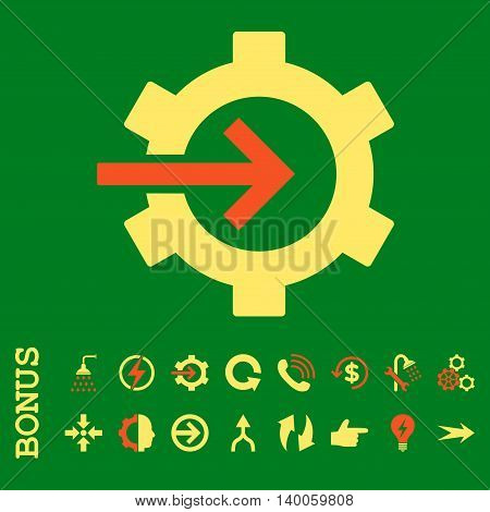 Cog Integration glyph bicolor icon. Image style is a flat iconic symbol, orange and yellow colors, green background.