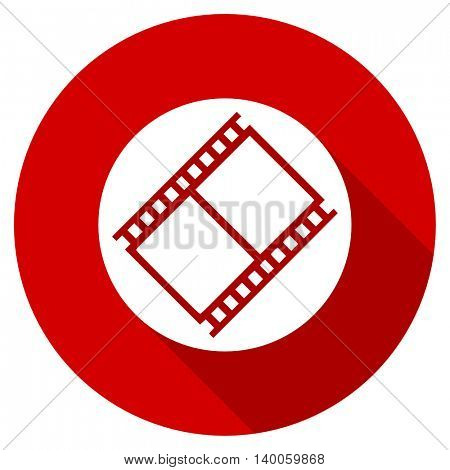 film red vector icon, circle flat design internet button, web and mobile app illustration