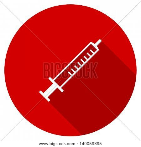 medicine red vector icon, circle flat design internet button, web and mobile app illustration