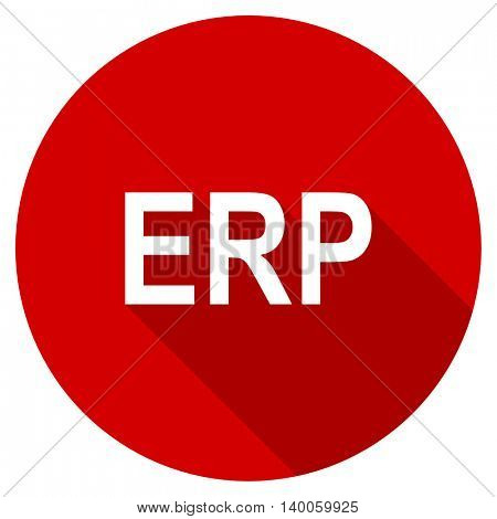 erp red vector icon, circle flat design internet button, web and mobile app illustration