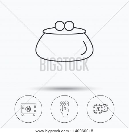 Cash money, safe box and wallet icons. Coins, enter code linear sign. Linear icons in circle buttons. Flat web symbols. Vector