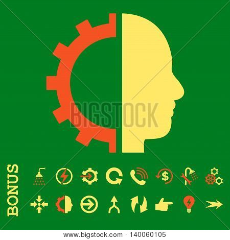 Cyborg Gear glyph bicolor icon. Image style is a flat pictogram symbol, orange and yellow colors, green background.